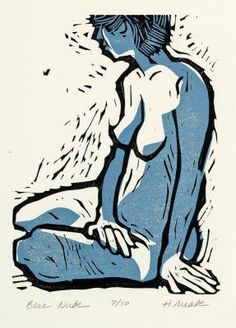 Image result for nude lino cut