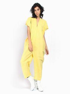 Swords Smith - Corsica Yellow by Miranda Bennett Duster Coat, Jumpsuit, V Neck, Yellow, Corsica, Cotton, Pants, Jackets, Swords
