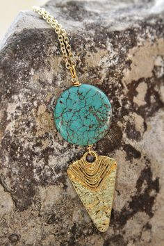 Arrow head necklace with turquoise stone on gold chain on Etsy, $26.00