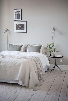 A calming grey bedroom More