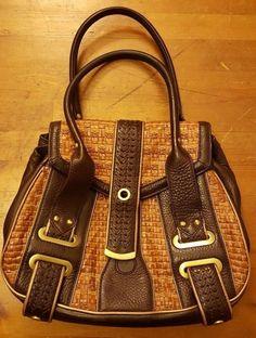Kenneth Cole, Dark/Camel Brown, Pebble/Woven Leather, Shoulder Handbag #KennethCole #ShoulderBag