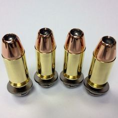 45 Hollow Point Bullet- 4 Motorcycle License Plate Fasteners Bolts- BIKE-AMMO…