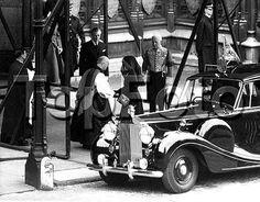 1953 Queen Elizabeth II arrives for her grandmother Queen Mary's funeral