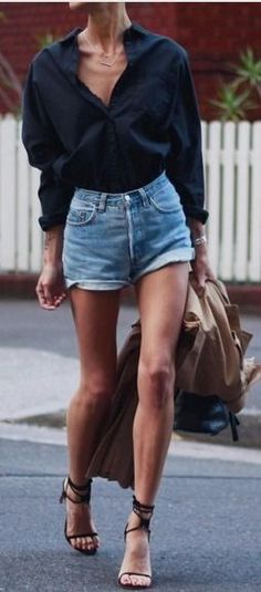 Wearing oversized shirt , relaxed high waisted shorts , lace up heels, thin necklace, Ankle Strap Sandals | Shades of Blue Spring Casual Street Style | ******Bove&lu
