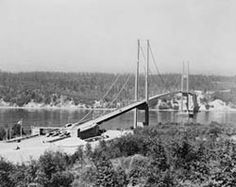 Original narrows bridge that collapsed in the wind upon opening!! Rebuilt and pretty bridge today = wsa wsdot records 1940 tacoma narrows bridge