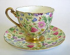 Shelley China CountrySide Rippon Shape Gold Trim Cup & Saucer
