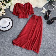 MUMUZI Fashion women outfits 2019 short design front buttons tops and long skirt set solid color side open skirt and blouse - Bag, shoes, clothes woman shops Casual Dresses, Casual Outfits, Fashion Dresses, Modest Fashion, Summer Outfits Women, Long Skirt Outfits For Summer, Dress Suits, Peplum Dresses, Mode Outfits