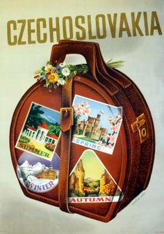 Czechoslovakia, 1947 - original vintage travel poster by Kurazova-Misek Old Poster, Poster Ads, Vintage Advertisements, Vintage Ads, Vintage Images, Illustrations Vintage, Illustrations And Posters, Tourism Poster, Travel Ads
