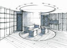 Croquis d'un concept en Cylindre au centre d'un appartement Philippe Ponceblanc Architecte d'intérieur http://www.architecte-interieur.com