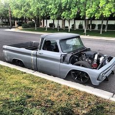 Chev chevy chevrolet modern design 1964 1965 1966 C10 slammed, probably z'd frame, with a late model LS truck motor. Shortened long bed.