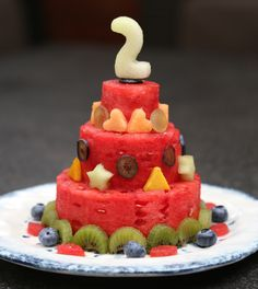 Watermelon Cake with Fresh Fruits: A perfect and refreshing dessert for a birthday party or any other hot summer day. Toddler Birthday Cakes, Healthy Birthday Cakes, Fruit Birthday Cake, Healthy Cake, Birthday Parties, Fruit Cake Watermelon, Fresh Fruit Cake, Cake Made Of Fruit, Healthy Birthday Cake Alternatives