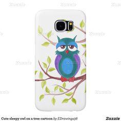 Cute sleepy owl on a tree cartoon samsung galaxy s6 cases