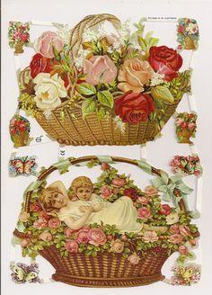 German Victorian Style Embossed Scrap Die Cut Flower Children WOW EF7065