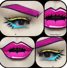 black, black eyeliner, brows, eyeliner, eyes, halloween, lips, make-up, makeup, party, pink, pop art, turquoise, yellow