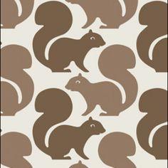 Squirrel Wallpaper in Latte design by Aimee Wilder Wallpaper Samples, Wall Wallpaper, Retro Wallpaper, Kids Wallpaper, Custom Wallpaper, Squirrel Girl, Secret Squirrel, Contemporary Wallpaper, Burke Decor
