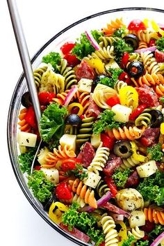 This Rainbow Antipasto Pasta Salad is the perfect way to use up leftover antipasto ingredients! Plus, it's easy to make. Great recipe for a birthday and more! dinner ideas for him recipes Rainbow Antipasto Pasta Salad Easy Pasta Salad Recipe, Healthy Recipes, Healthy Salad Recipes, Pasta Recipes, Great Recipes, Soup Recipes, Ravioli Recipe, Dessert Recipes, Cooking Recipes