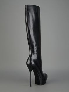 Gianmarco Lorenzi Style A3D7A1514 knee boot in black nappa leather with almond toe, side zipper, 40 mm platform, and 160 mm leather stiletto heel.