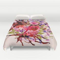 floral splash Duvet Cover by Clemm | Society6