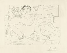 Pablo Picasso  1881 - 1973  MINOTAURE, UNE COUPE À LA MAIN, ET JEUNE FEMME (B. 190; BA. 349)  Etching, 1933, from la suite Vollard, signed in pencil, from the total edition of 310, on Montval laid paper with the Vollard watermark, published by Vollard, Paris, framed  plate: 195 by 269mm 7 5/8 by 10 5/8 in  sheet: 340 by 447mm 13 3/8 by 17 5/8 in  picasso, pablo minotaure, une cou ||| prints ||| sotheby's l17160lot989nren