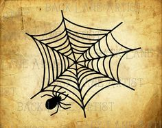 Halloweed Spider Web Clipart Lineart by BackLaneArtist on Etsy