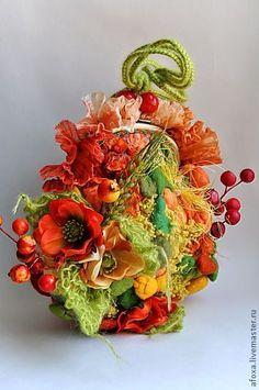 """""""Ginger Summer"""" - orange, red, summer, art bag, felted bag"""