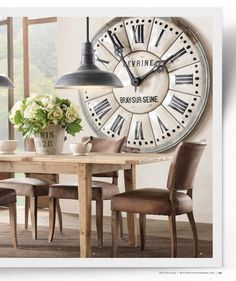 Large clock in dining room