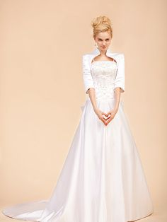 Modest A-line Satin Beaded Bodice Bow Chapel Train Gown with Shrug Classic Wedding Dresses Winter 2011 under 500
