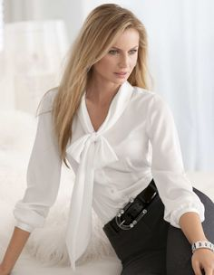 Bow Blouse, Blouse And Skirt, Ruffle Blouse, Classy And Fab, Sexy Bluse, Satin Blouses, White Blouses, Beautiful Blouses, Nice Tops