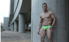 #StefanKauffman Wears Nylon Briefs from #AMUUnderwear by Steve France