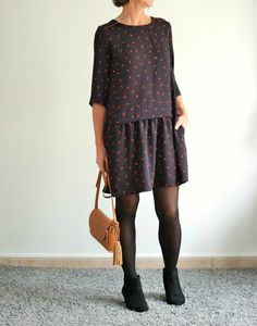 Love the cut of this casual dress. And the print is really cute up close!