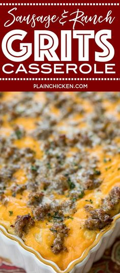 Sausage and Ranch Grits Casserole recipe - CRAZY good! We love this casserole for breakfast, lunch Healthy Sweet Snacks, Nutritious Snacks, Healthy Recipes, Grits Breakfast, Breakfast Casserole Sausage, Chicken Casserole, Cheap Clean Eating, Clean Eating Snacks, Crockpot Grits