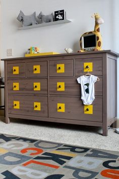 Great idea! ~ Ikea Dresser ~ Be creative with your boy or girl. Remove the knobs and paint your own design.