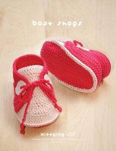 Tutoriels de crochet, MODÈLE de crochet de chaussures de bateau de bébé est une création orginale de kittybebe sur DaWanda