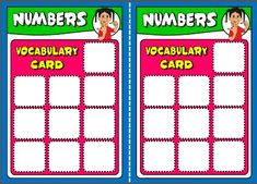 NUMBERS 1-10 BOARD GAME VOCABULARY CARDS http://eslchallenge.weebly.com/english-yes-1.html
