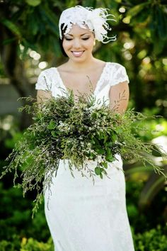 Amazing Crescent Shaped Wedding Bouquet Arranged With Mostly Greenery/Foliages~~