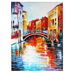 Canal In Venice — Palette Knife Italy Cityscape Wall Art Oil Painting On Canvas By Leonid Afremov. Oil Painting On Canvas, Painting Frames, Painting Prints, Canvas Wall Art, Painting Gallery, Painting Flowers, True Art, Art Abstrait, Leonid Afremov Paintings