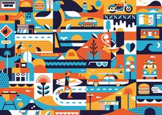 Illustration for McDonalds with Be Fly. Summer Campaign, Shape Design, Design Agency, Creative Art, Illustrators, Design Inspiration, Branding, Kids Rugs, Shapes
