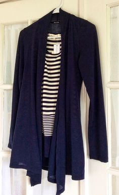 Like the sweater shape and cut!  Kira mixed stripe racerback tank and abrianna long sleeve knit cardigan