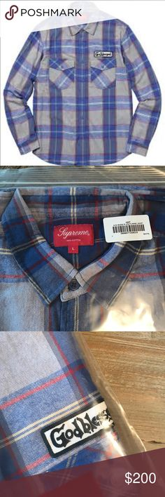 Supreme Flannel God Bless Button Up Shirt New Supreme God Bless Shirt. Supreme Shirts Casual Button Down Shirts
