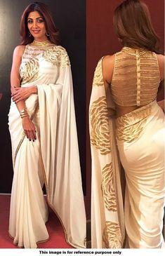 Bollywood Style Shilpa shetty white and gold saree Farah sari blouse Netted Blouse Designs, Blouse Neck Designs, Saree Jacket Designs Latest, Golden Blouse Designs, White And Gold Saree, White And Gold Dresses, Saree Jackets, Stylish Blouse Design, Bastilla