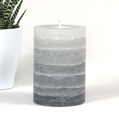 Gray Pillar Candle - Striped - Rustic - 3x4 inches