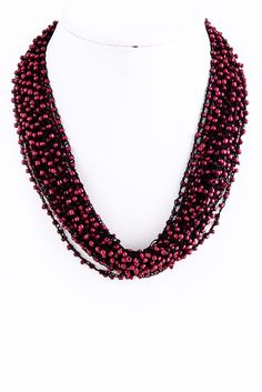 Seed Bead Cluster Necklace in Multi Colors
