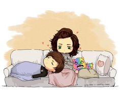 This Larry fanart is so freaking adorable! >w< So cute and cuddly with the bears as well! :D