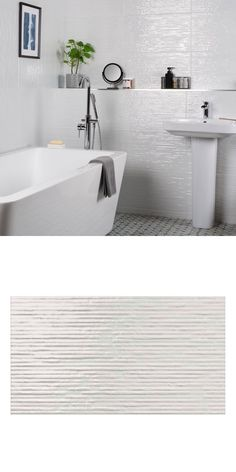 A fabulous twist on the classic white, gloss wall tile. These Cheviot Tiles are a brilliant white gloss with a linear surface that plays with the light Wall And Floor Tiles, Wall Tiles, Chalk Texture, White Tiles, Wall Spaces, Bathroom Wall, Classic White, Minimalism, Interior Decorating