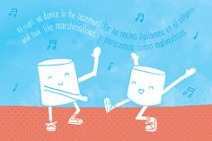 Dancing marshmallows illustration by Natalie Marion for 826michigan poetry book Rare Air