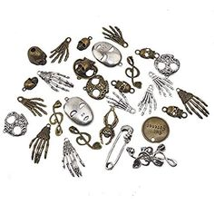 ST park Assorted Antique Steampunk Gears Charms Pendant Clock Watch Wheel Gear for Crafting, Jewelry Making Accessory,Assorted Colors Skull) Charms Lol, Charms Candy, Steampunk Gears, Victorian Steampunk, Steam Punk Jewelry, Steampunk Accessories, Pandora Bracelet Charms, Bronze Pendant, Arts And Crafts Supplies
