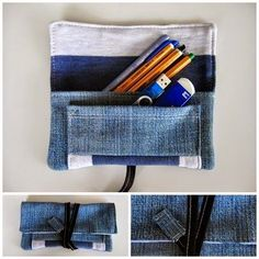 Etui aus Jeans und Pulli / Pouch made from jeans and jumper / Upcycling