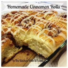 Homemade cinnamon rolls with glaze