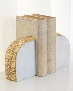 Grace Bookends, Set of 2. This is beautiful! Keeping this as a reference. #book #case #ends #white #gold (affiliate)