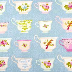 Tilda Christmas play, pale blue vintage teacup fabric / bird rose quilting